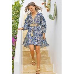 BLUE YUMI DRESS BY MISS JUNE