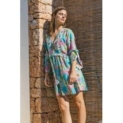 AQUA ABBA DRESS BY MISS JUNE